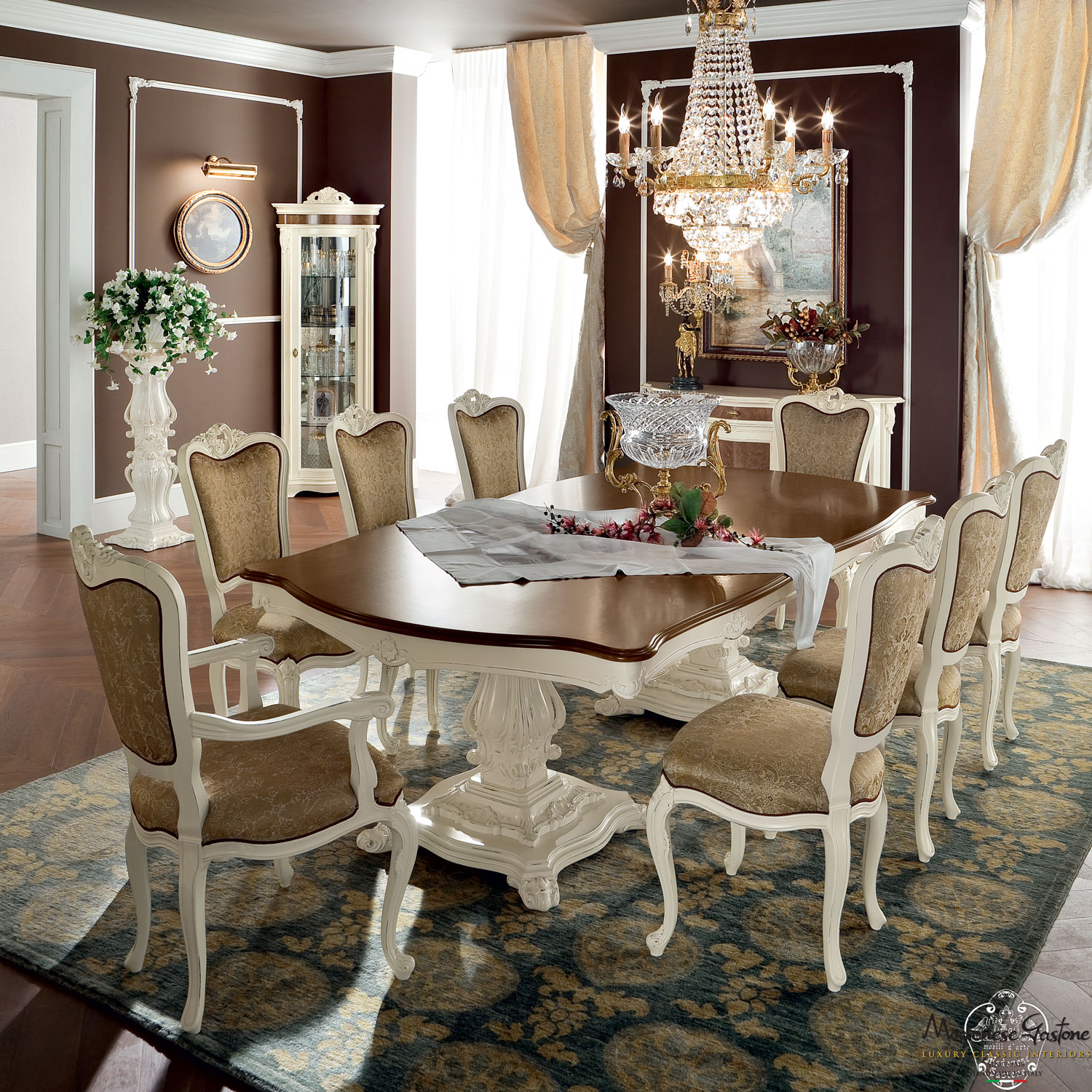 Carved-fixed-table-luxury-classic-dining-set-Bella-Vita-collection-Modenese-Gastone