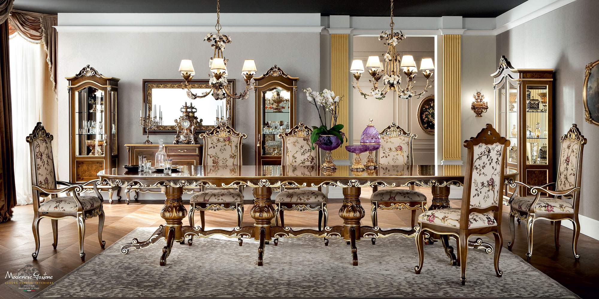 Classic-luxury-dining-room-with-one-piece-table-Casanova-collection-Modenese-Gastone