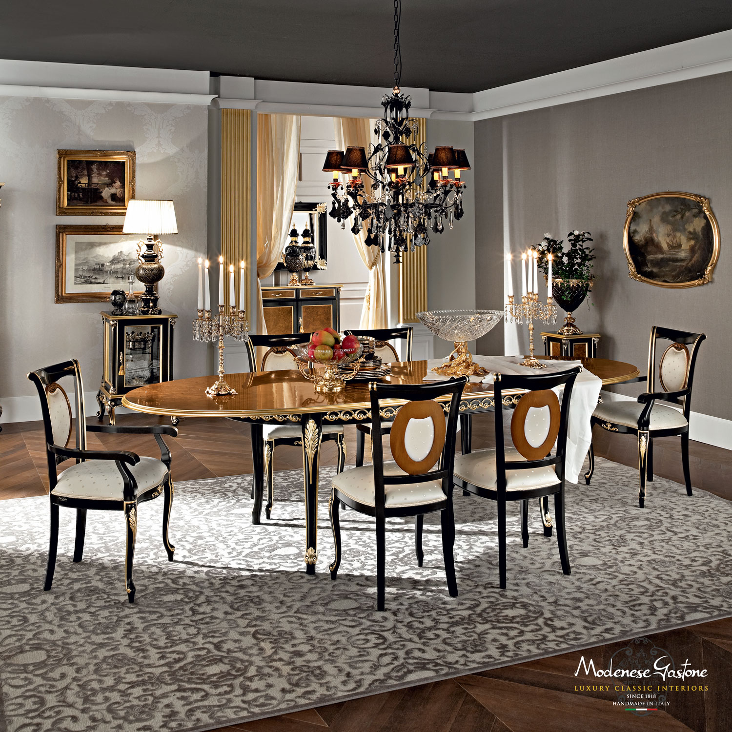 Classical-dining-room-with-extendable-hardwood-table-Casanova-collection-Modenese-Gastone