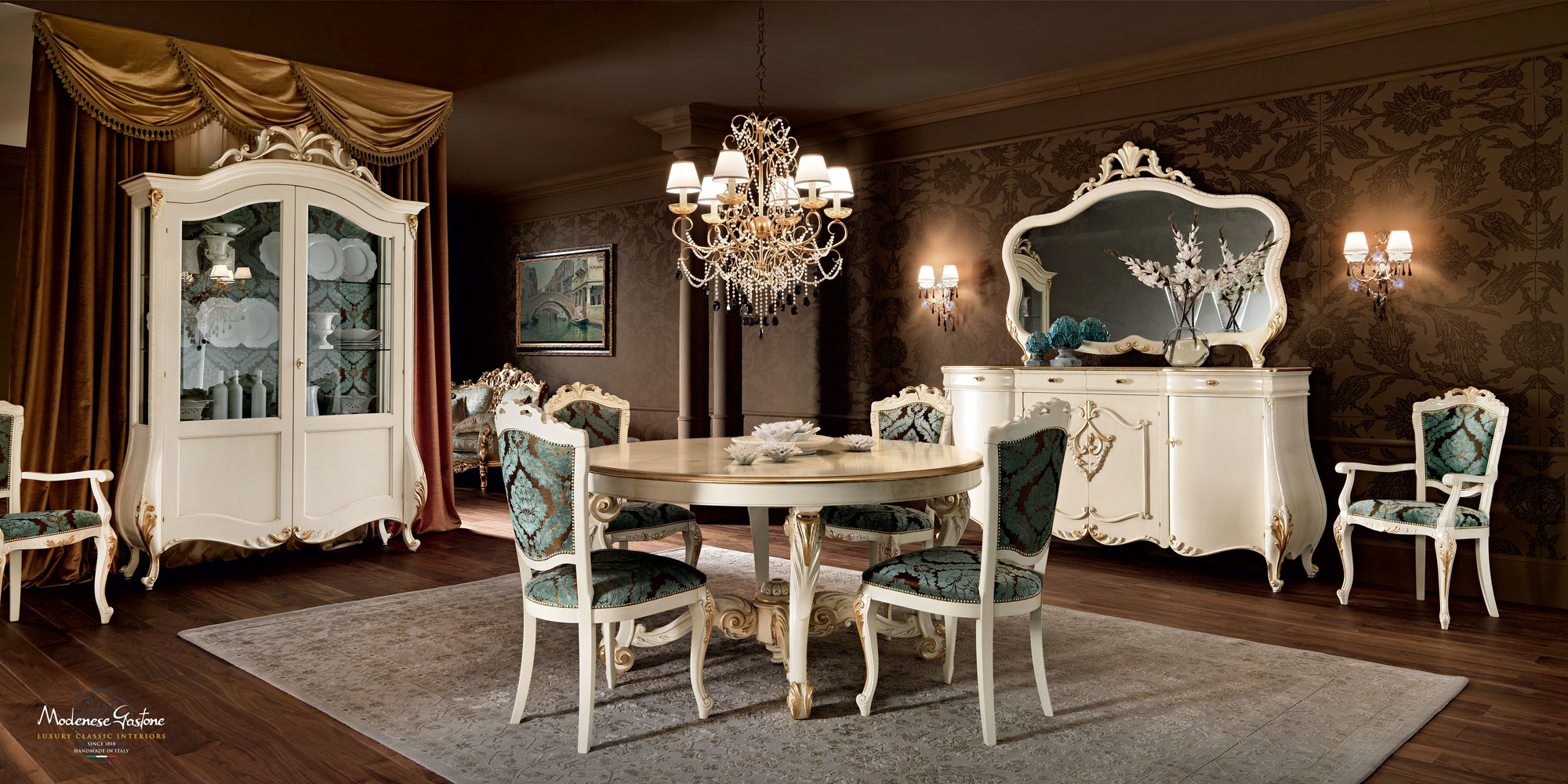 Dining-room-luxury-Italian-furnishings-design-Villa-Venezia-collection-Modenese-Gastone