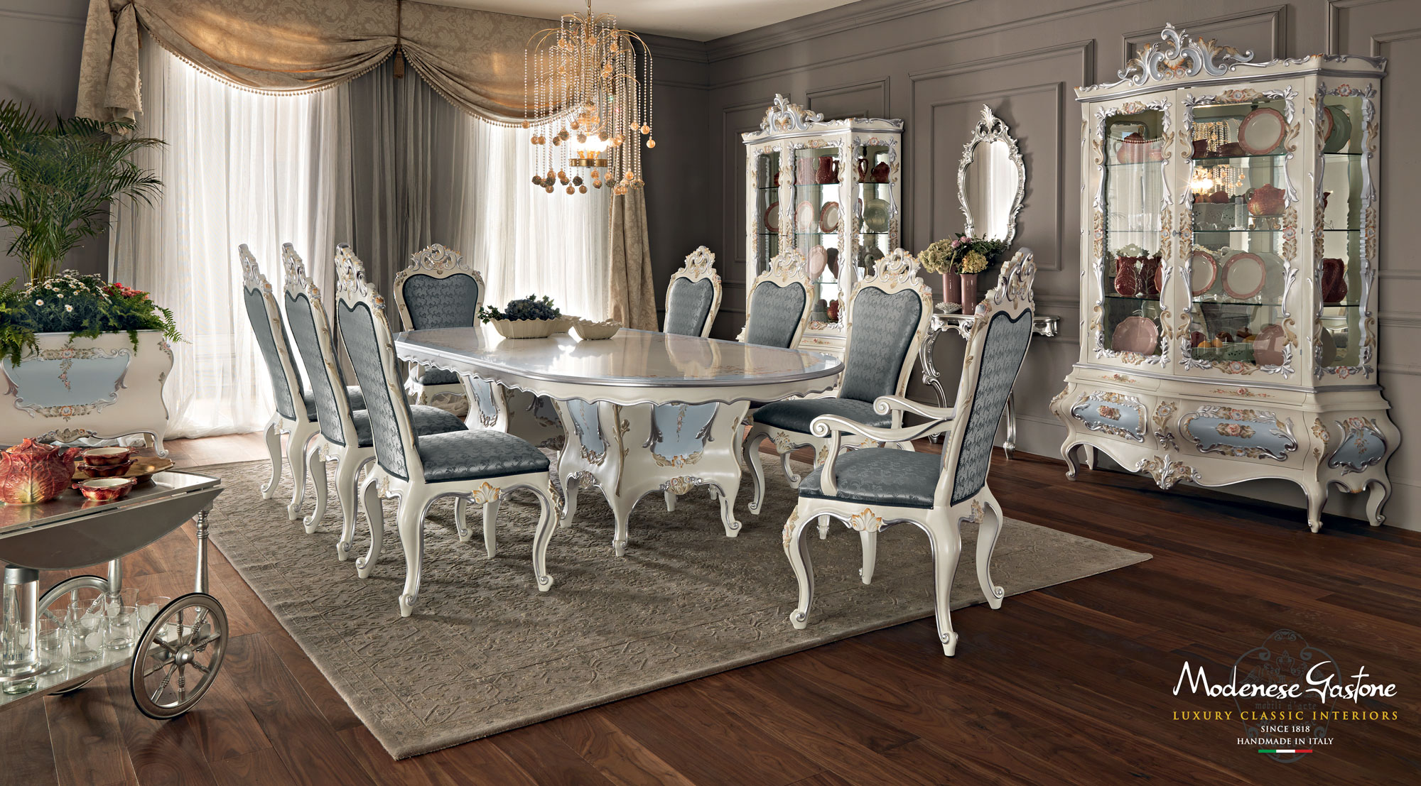 Dining-set-hardwood-luxury-interior-design-Villa-Venezia-collection-Modenese-Gastone