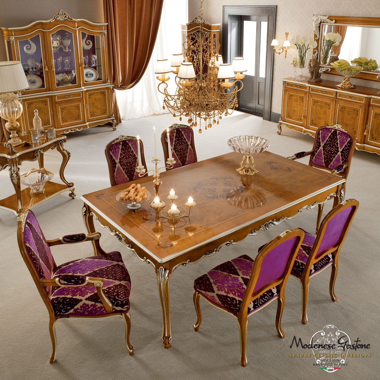 Fashionable-hardwood-customizable-dining-room-Casanova-collection-Modenese-Gastone