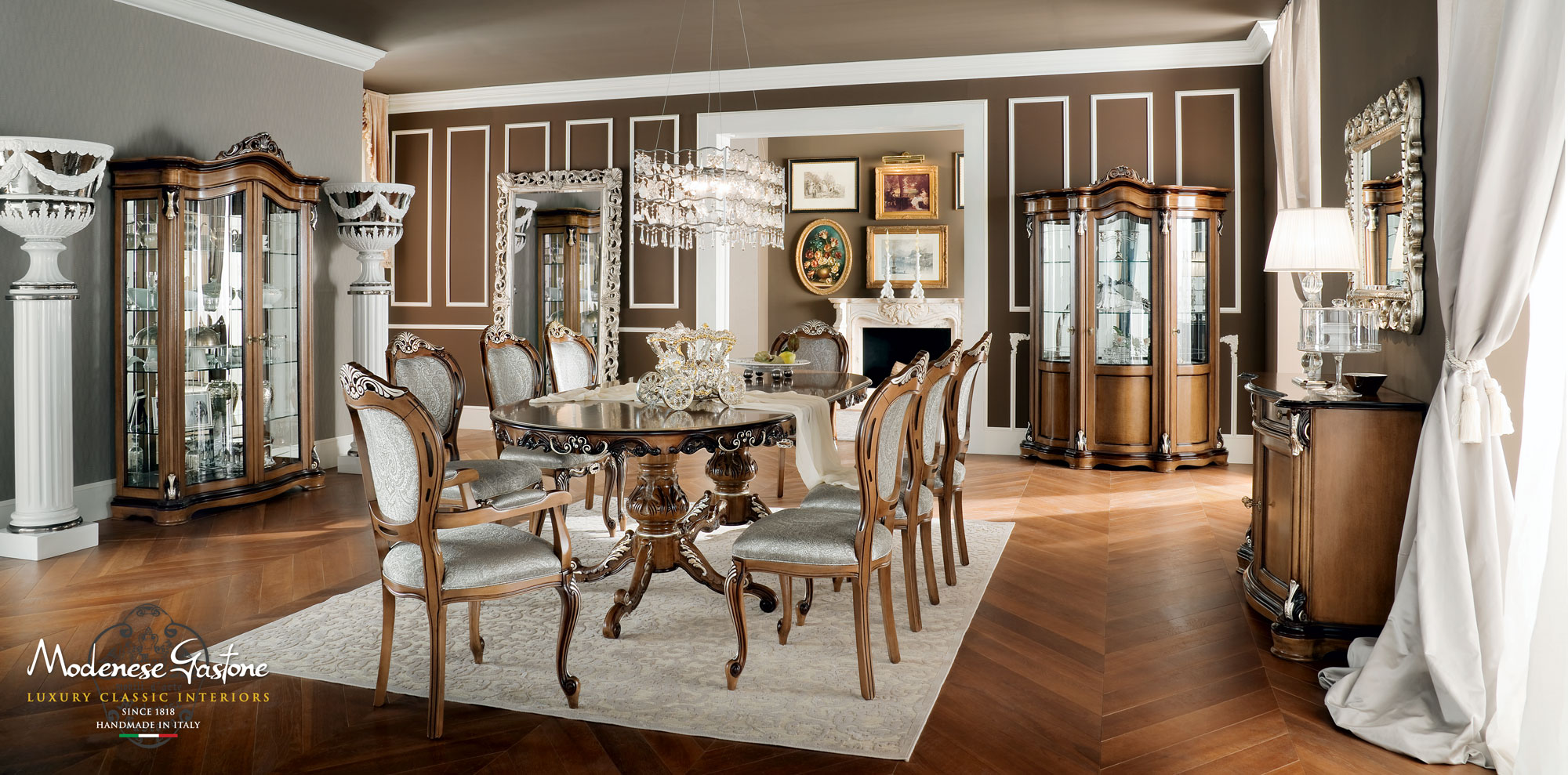 Italian-luxury-hardwood-dining-room-Bella-Vita-collection-Modenese-Gastone