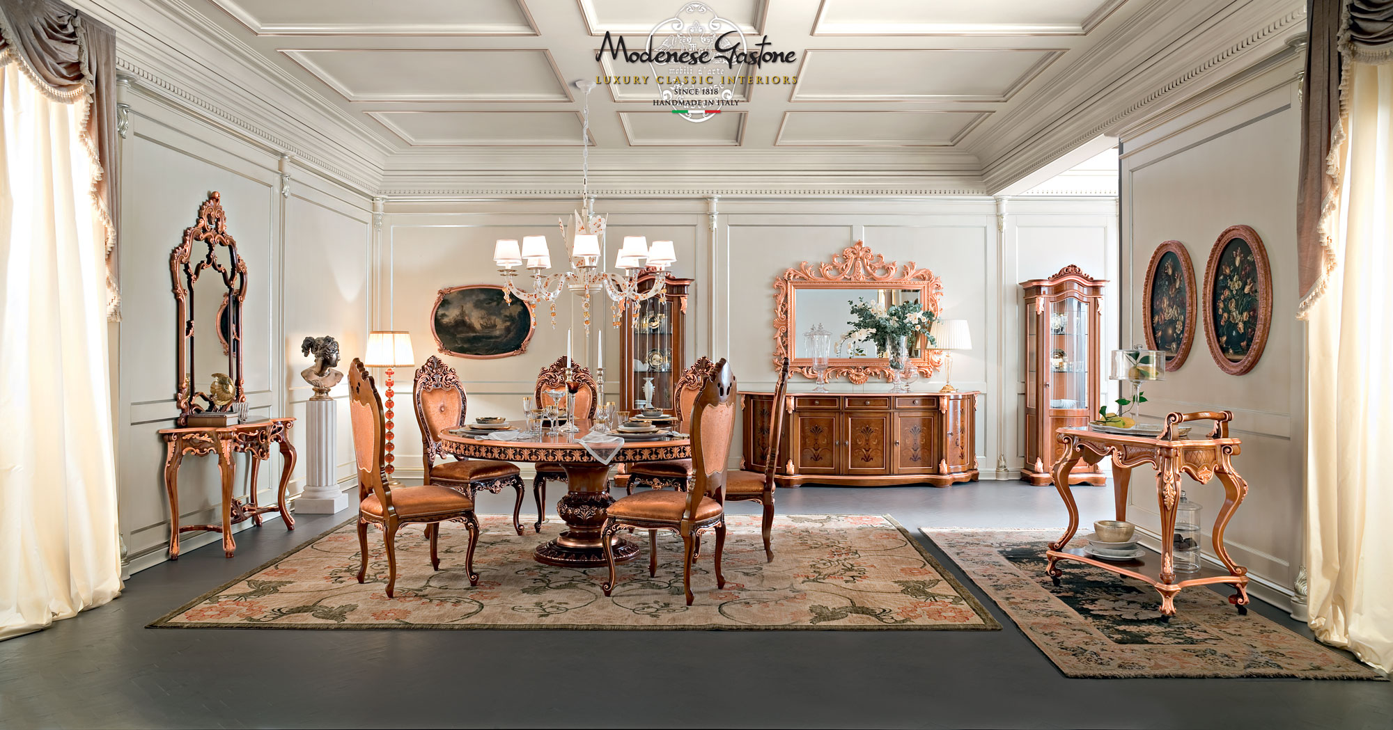 Luxury-hardwood-dining-room-and-coffered-ceiling-Bella-Vita-collection-Modenese-Gastone